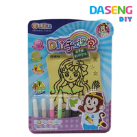 Wholesale kids sand art drawing board with 6 bottles color sand