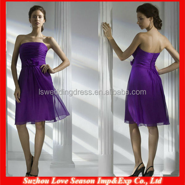 HB0151 OEM Wholesale patterns Off-shoulder chiffon strapless sleeveless natural waist knee length purple bridesmaid dresses