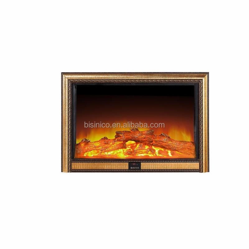 Bisini Deco Flame Electric Fireplace HeaterBlack And Gold Wall - Fireplace heaters electric