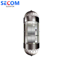 customized 1.0m/s 800kg Circular glass decorate elevator lift Details