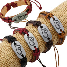 Wholesale Fashion Unisex Leather Cord Bracelets Cheap Custom Handmade Braided Engraved Leather Bracelet