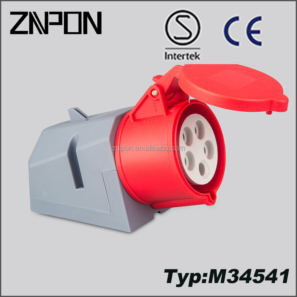 ZNPON MP34541 32A 380V 3P+N+E IP44 industrial surface mounted plug