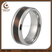 Fashion jewelry wood inlay blank tungsten wedding ring for mens