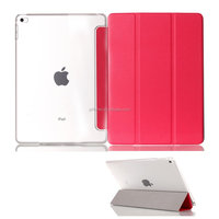 Clear crystal transperant Ultra Slim hard flip PC Premium PU leather Smart Case Cover with Auto Sleep/Wake for iPad mini