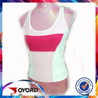 2016 OEM Guanzgzhou newest 100% polyester heat transfer Tops Vest Gym Running Women Singlet Shirts free sizes and colors