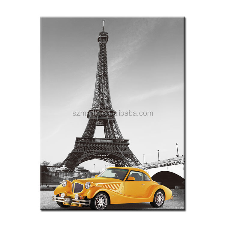 Home Wall Art Oil Painting on Canvas Landscape The Eiffel Tower in Paris and Old Car Wall Pictures for Living Room