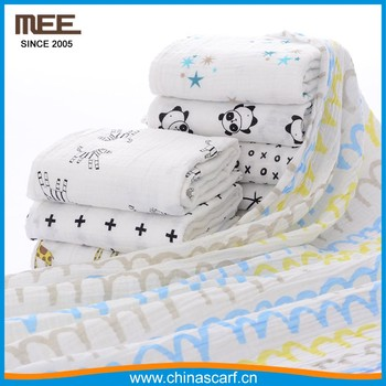 wholesale promotion printing cotton blanket sleeping wrap baby swaddle blanket
