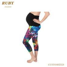 New arrival high quality high wasit polyester spandex yoga sports women maternity pants
