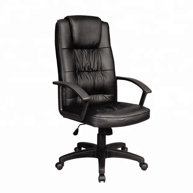 genuine leather executive chair/plastic base nylon castors office chair/height adjustable swivel chair