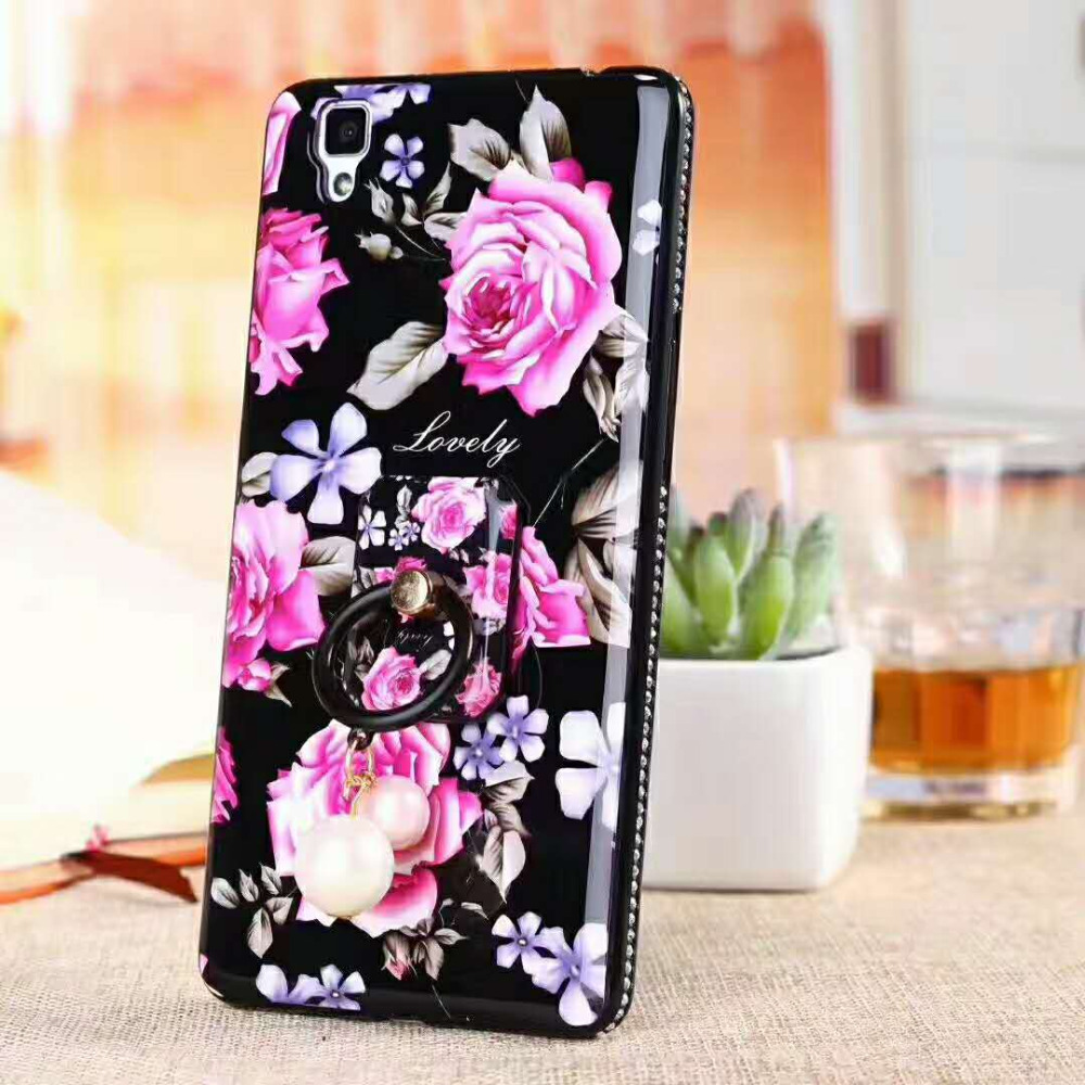2018 new arrivals TPU printed flower with dimaond mobile phone case back covers for samsung c9 pro