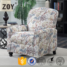 New design Pushback recliner with beatiful patterned fabric ZOY-P6208A