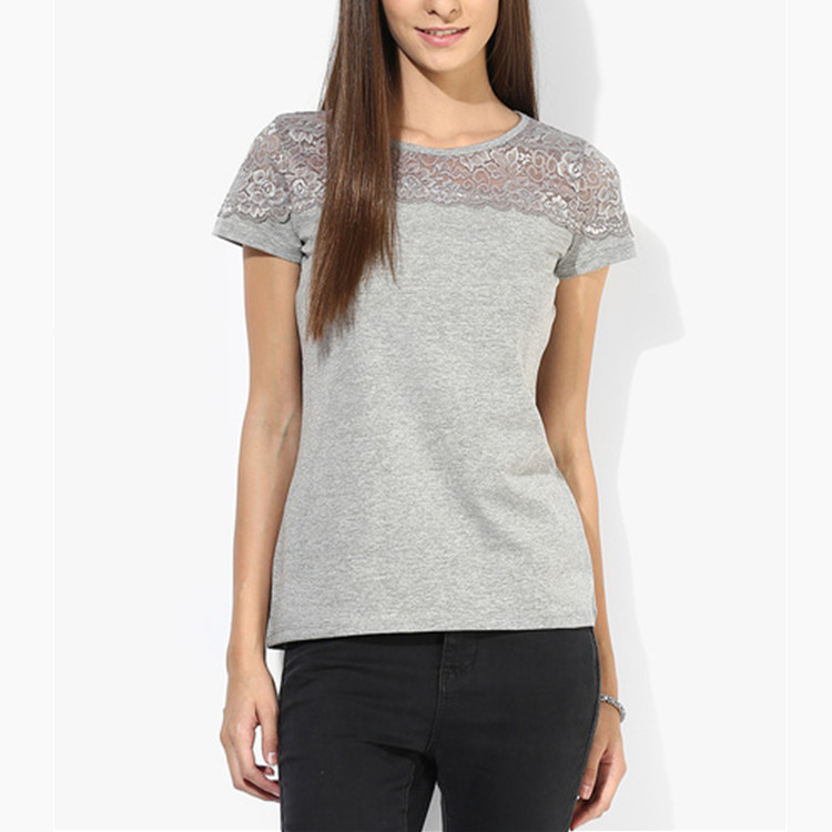hot sale tight fit lace t shirt for women sexy short sleeve t shirt women