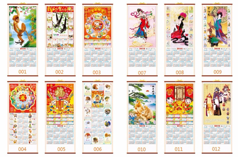 Hot selling promotional hang wall scroll calendar