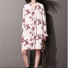 hot selling elegant 100% cotton printed long sleeve round-neck dress for women wear