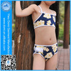 Domi 4-11Y kids swimsuit models children's swimwear 2 piece beautiful flower printed and ruffle bottom kids swimsuit