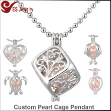 Cage Pearl Pendant Cube Locket Necklace 925 Sterling Silver Pearl Cage Pendant