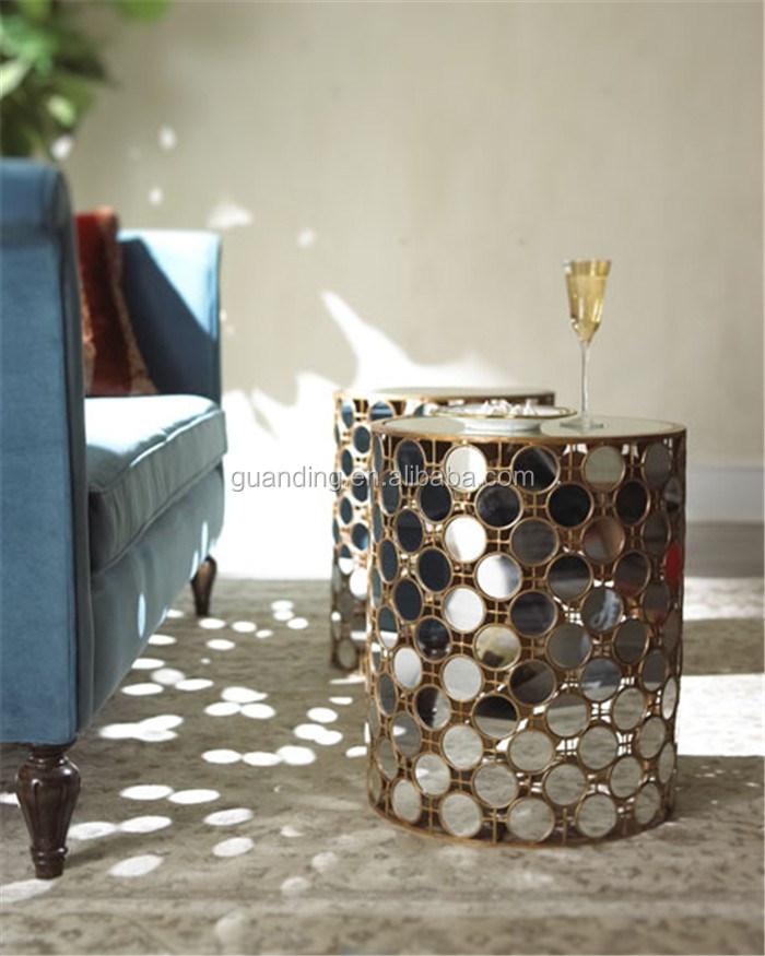 modern living room glass top metal small end table