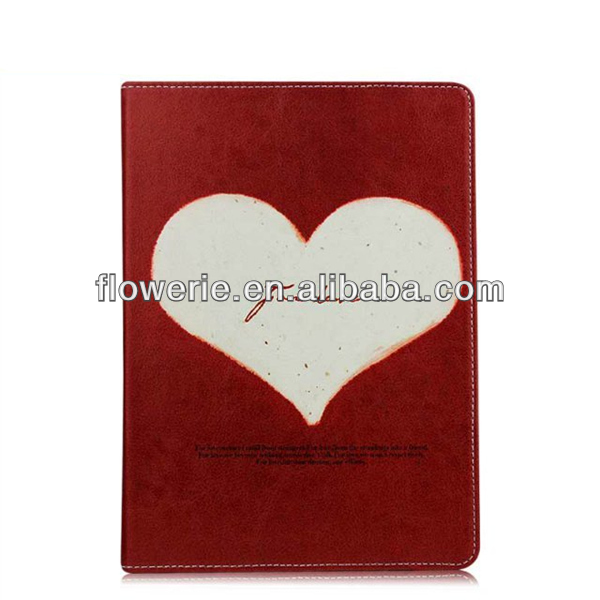 FL3252 Guangzhou 2013 new arrival love Heart Print stand book leather flip case for ipad air