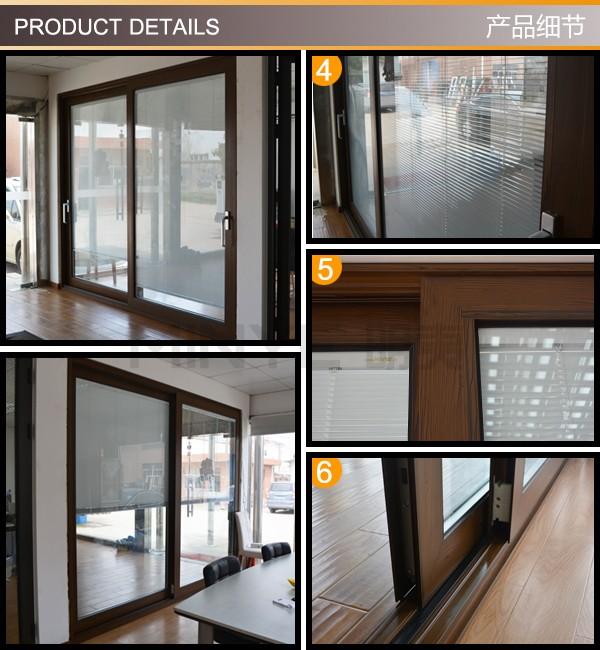 Auto design commercial sliding door with electric blinds for Motorized sliding door blinds