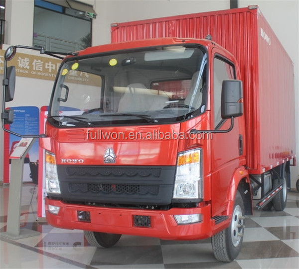 Sinotruk howo 4X2 1 ton 3 ton mini box van truck for sale