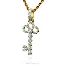 18k white gold plating hip hop sterling silver cz paved crystal key pendant necklace