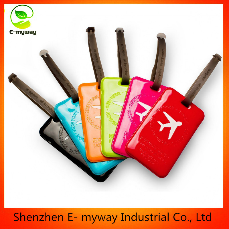 genuine leather PU luggage tag with deboss emboss logo