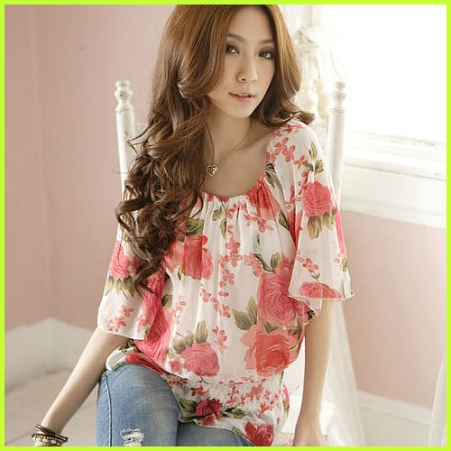 2013 summer new fashion elegant round collar loose blouses short dolman sleeve chiffon shirt for women with printed design N3079