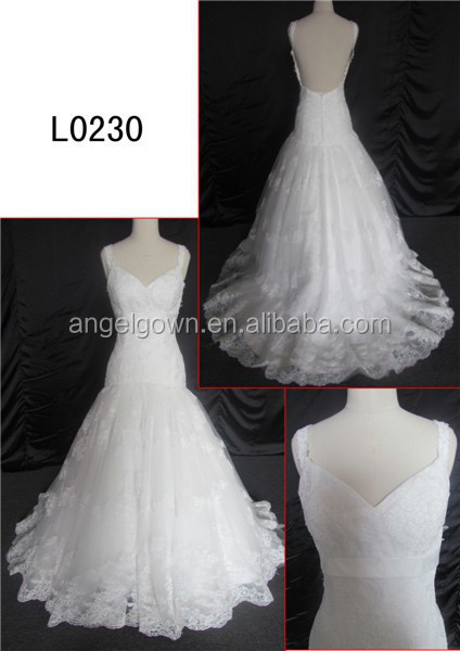 Beautiful long tail ball gown backless wedding dress /lace fabric for wedding dress