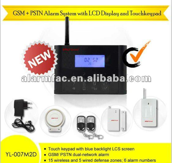 NEW GSM+PSTN alarmas home intruder alarm system with LCD display and touch keypad and outdoor wireless detector
