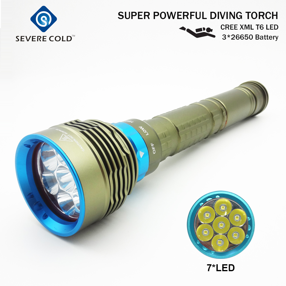 Severe Cold 14000 Lumen 7CREE XML T6 LED Diving Flashlight Torch Underwater 200M Waterproof LED Flash Light Lantern Torch