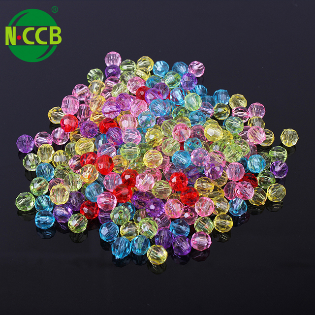 Colorful crystal clear disco faceted ball plastic acrylic beads for bracelet and necklace