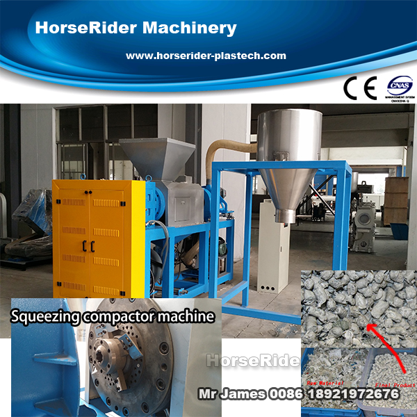 Waste plastic film dewatering extruder machine/squeezing dryer