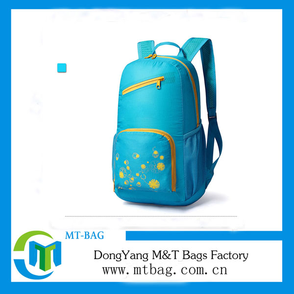 New recycle polyester blue nylon foldable back packs