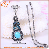 European and American fashion retro zigzag pattern blue Mosaic turquoise crystal pendant necklace Sterling silver
