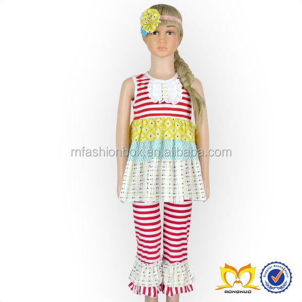 Hot Sale Dream Catcher Printing Fringed Singlet And Ruffle Pant Children Clothing USA Baby Boutique Wholesale