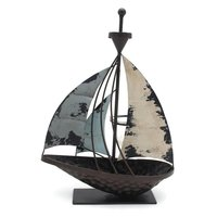 Metal Candle Holder For antique Nautical Model Standing Sailboat, Home/Office Tabletop Tealight Holder