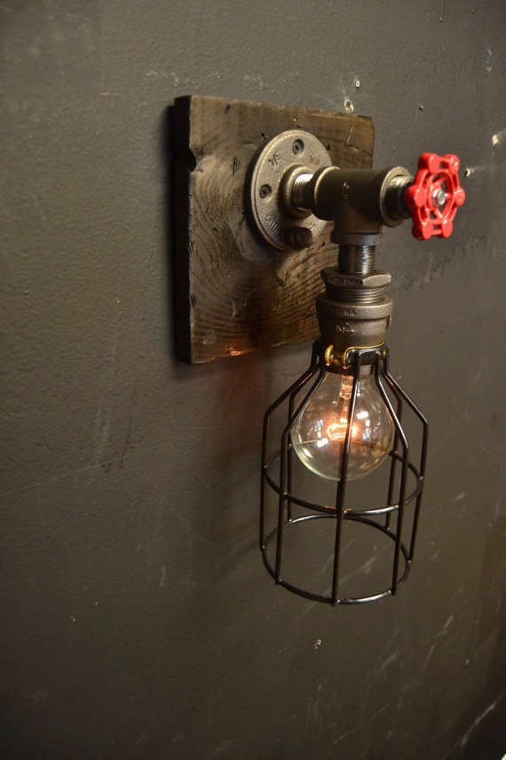 Steampunk fixture wood industrial light wall lamp for Decoration murale industrielle