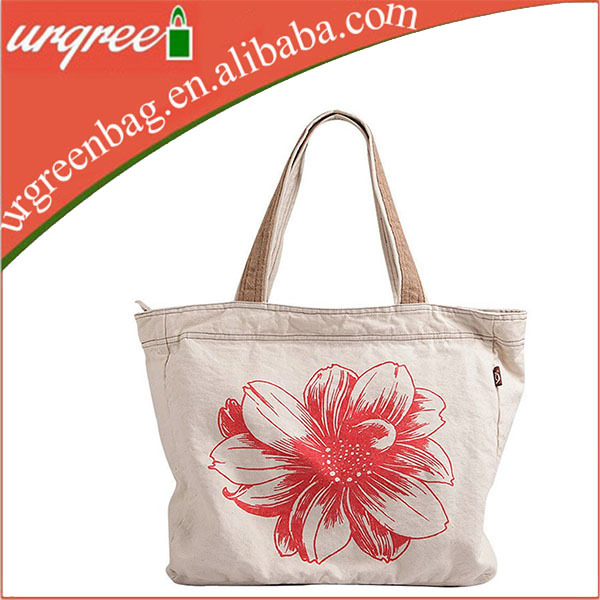 Top Quality Organic Cotton Tote Street Bag With Floral Printing