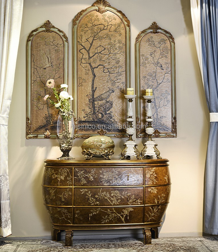 Vintage Hand Drawing Console Cabinet With Wall Picture, Lacquer Gilding Arts Furniture, Elegant Home Decoration Art & Crafts