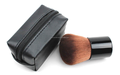 black PU cosmetic bag with kabuki powder brush