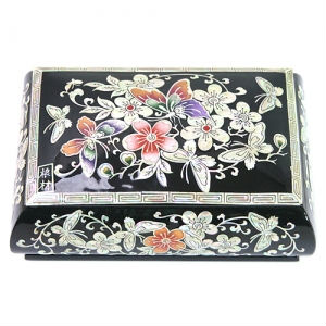 Korean Lacquer Mother of Pearl Nacre Inlaid Najeon Chilgi Jewelry Box GOGL#10276