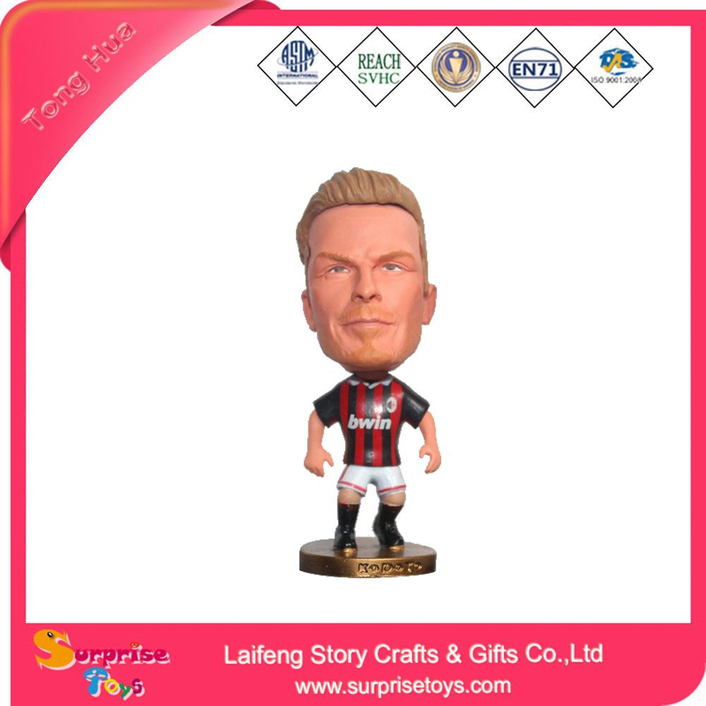 Cute plastic miniature soccer player figure