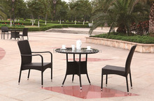 Florida Wicker look Outdoor Resin Bistro Set Brown with Square Table 28 inch