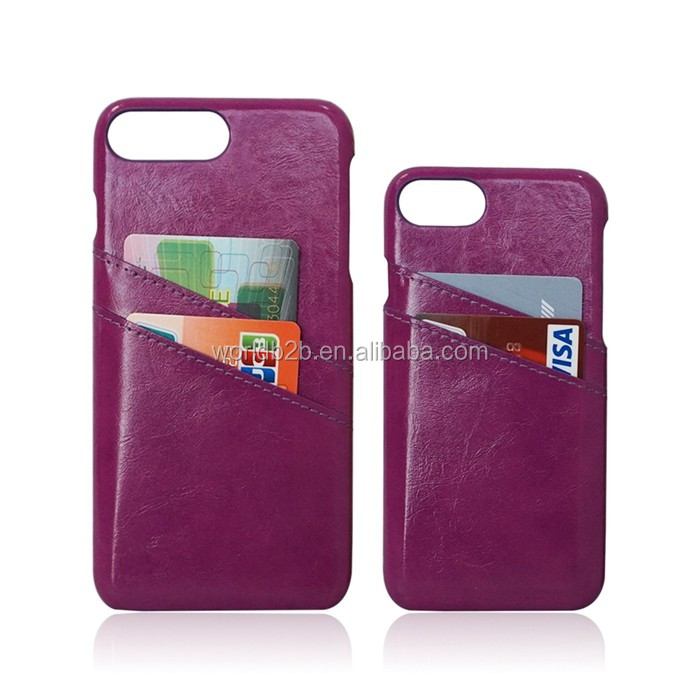 Premium Handcrafted Ultra Slim Leather Back Credit Card Slot Holder Case Cover for Apple iPhone 7/7 Plus