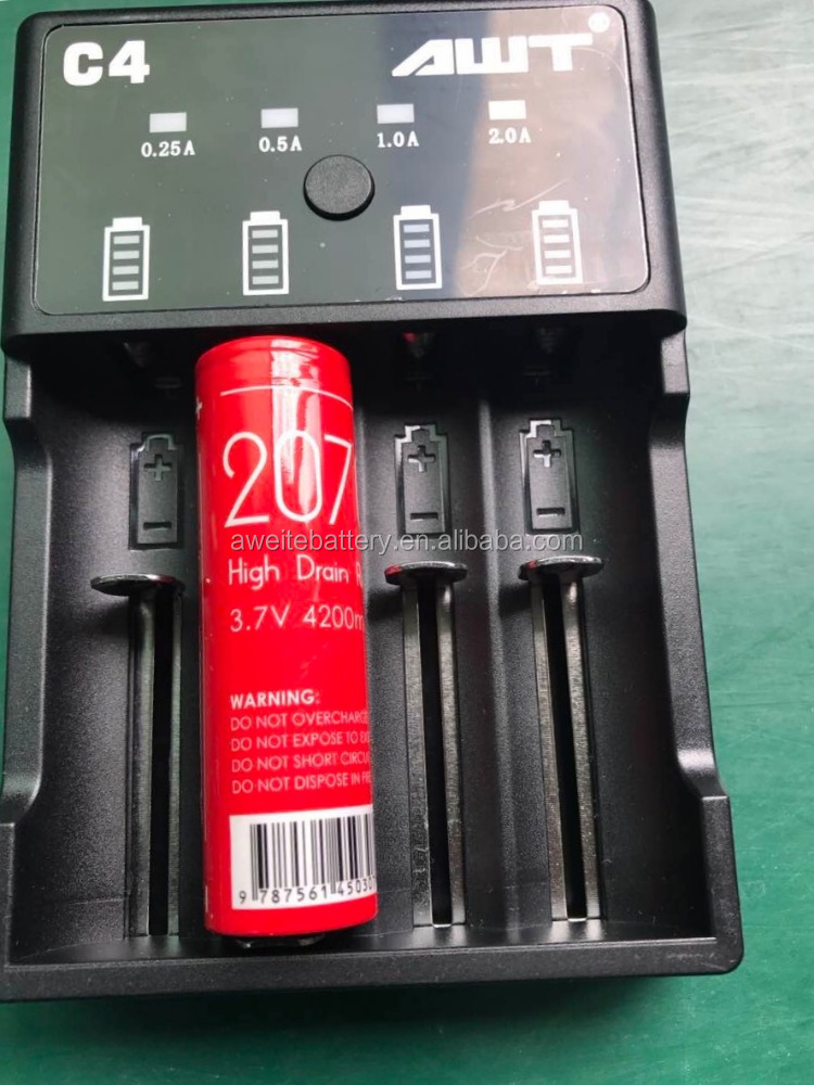 AWT C4 Micro port USB li ion battery charger 2A input AWT battery18650 26650 20700 Battery charger Li-ion battery charger
