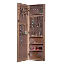 factory stock wooden wall mounted mirror jewelry armoire