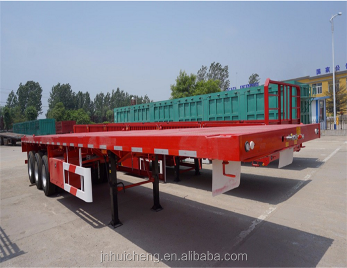 3 axle 53ft flatbed container truck trailer long vehicle with tractor head