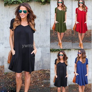 FX-009 2018 XXX Whoholesale Women Casual V Neck Short Sleeve Dress Plained type Loose Clothing Hot Beach Dress With Pocket