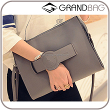 cute chic new design leather lady clutch handbag with shoulder strap and handle
