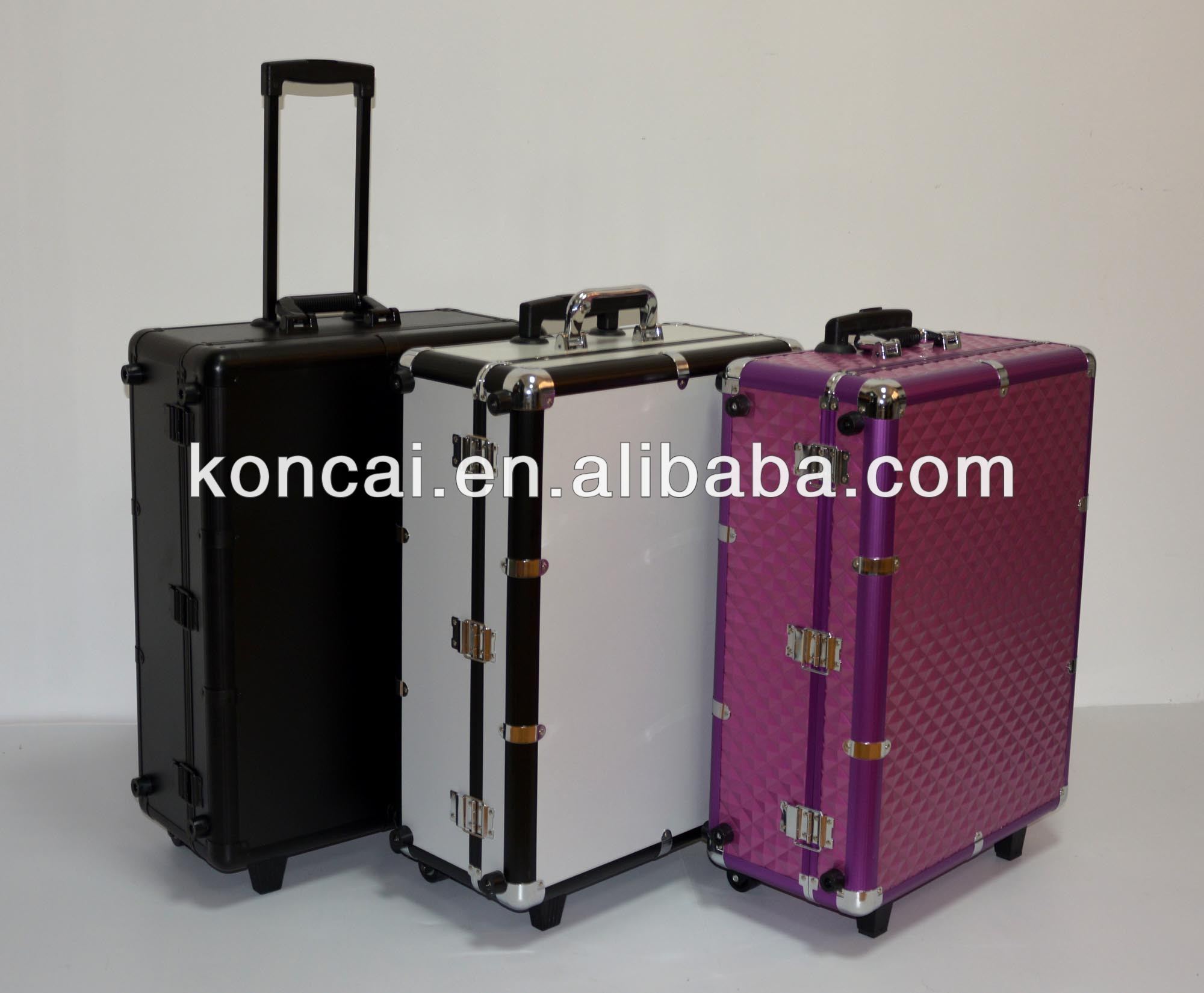 MOQ:1pc, Mobile Professional PINK Aluminum makeup case with lights / trolley aluminum lighted makeup train case with stands